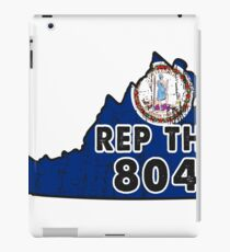 REP THE 804 - POPULAR DISTRESSED DESIGN WITH STATE FLAG AND AREA CODE 804 iPad Case/Skin