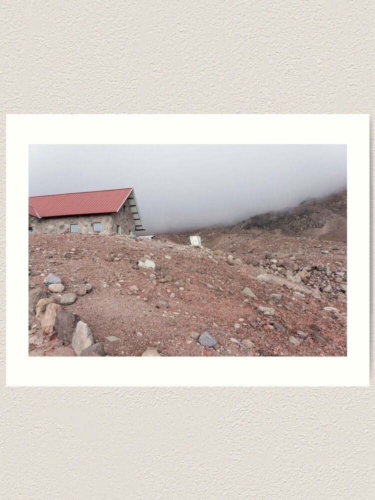 Alternate view of Mountain cabin on misty hillside, Mount Chimborazo, Ecuador Art Print