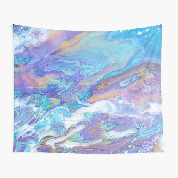 Inky Blue Abstract Art Tapestry