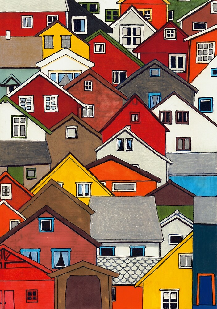 Colourful Houses by Erin Nicholls