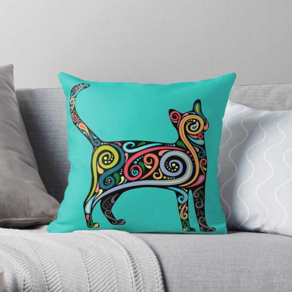 Colorful Calico Cat Print Throw Pillow