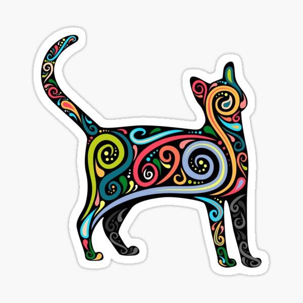 Colorful Calico Cat Print Sticker