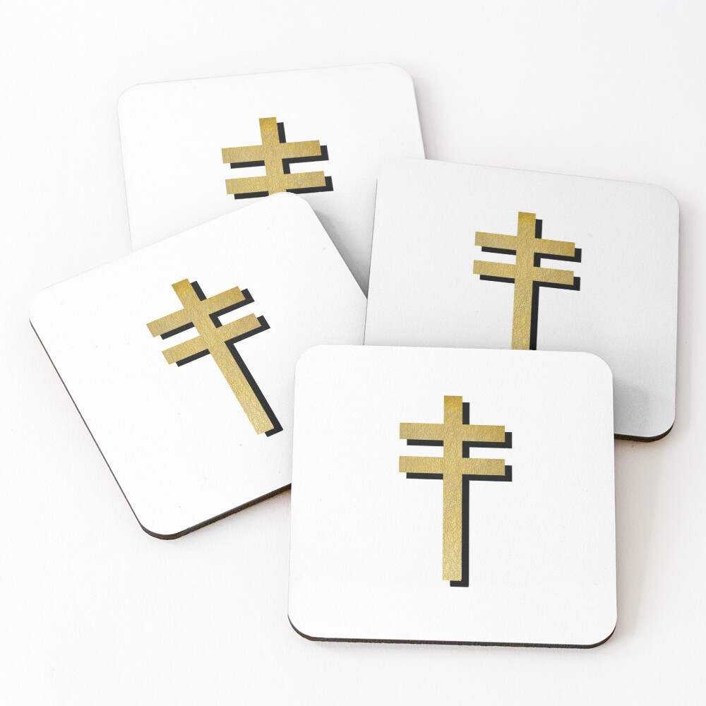 Frightened Rabbit Inspired Design - Frightened Rabbit Cross - Cross (WHITE BACKGROUND VERSION) Coasters (Set of 4)