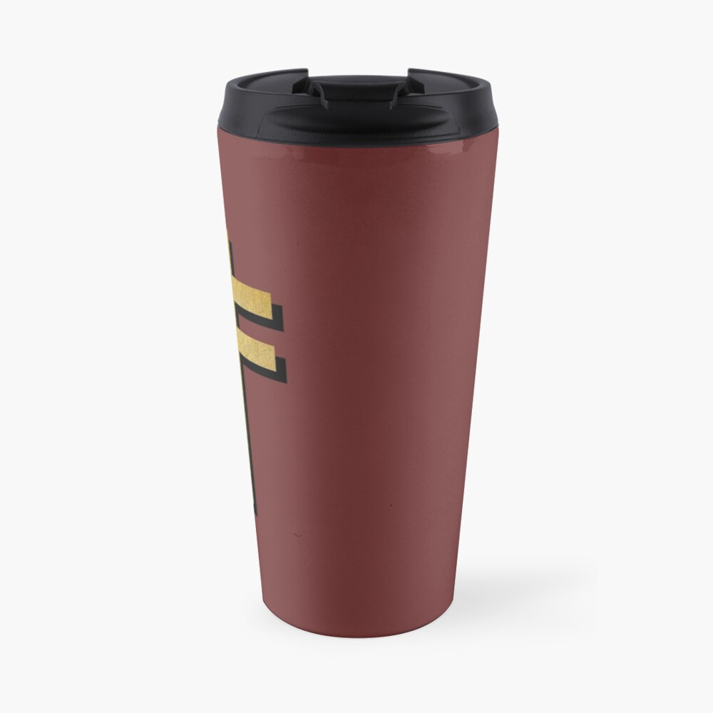 (MAROON BACKGROUND VERSION) Frightened Rabbit Inspired Design - Frightened Rabbit Cross - Cross Travel Mug