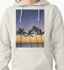 Palm Trees and Ombre Tropical Sunset - Hawaii Pullover Hoodie