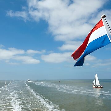 Dutch flag over Waddenzee Wadden Sea from stern  by stuwdamdorp
