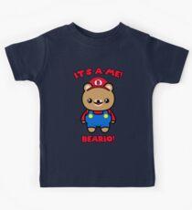 Cute Bear Funny Kawaii Mario Parody Kids Tee