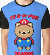 Cute Bear Funny Kawaii Mario Parody Graphic T-Shirt