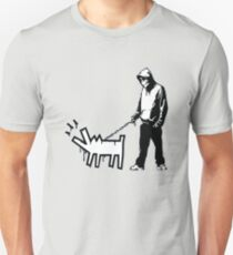 Banksy Thug with a Barking Dog! Slim Fit T-Shirt