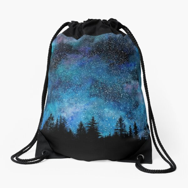 Star Night in the forest Drawstring Bag