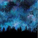 « Nuit des étoiles dans la forêt » par Rebecca Reck Art