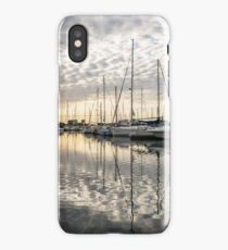 Herringbone Sky Patterns with Boats and Yachts iPhone Case
