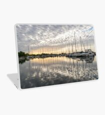 Herringbone Sky Patterns with Boats and Yachts Laptop Skin