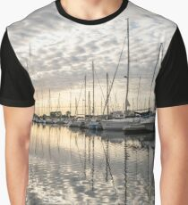 Herringbone Sky Patterns with Boats and Yachts Graphic T-Shirt