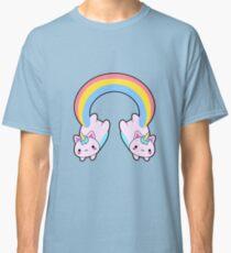 Kawaii proud rainbow cattycorn pattern Classic T-Shirt