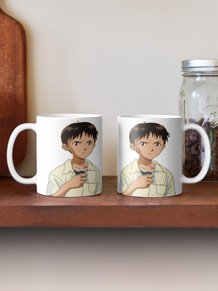 Alternate view of shinji holding a mug on a mug Mug