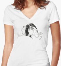 Elio and Oliver CMBYN Call me By Your Name line art Women's Fitted V-Neck T-Shirt