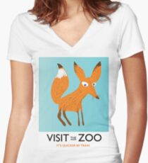 Visit the Zoo ( FOX) Women's Fitted V-Neck T-Shirt