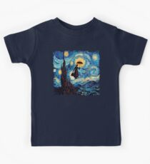 The Flying Lady with an Umbrella Oil Painting Kids Tee
