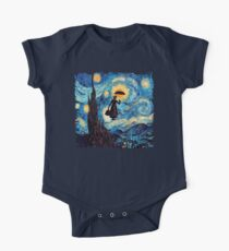 The Flying Lady with an Umbrella Oil Painting One Piece - Short Sleeve