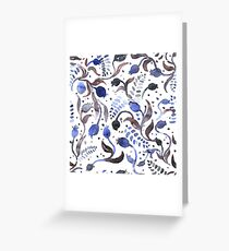 Watercolor pattern with abstract flowers. Greeting Card