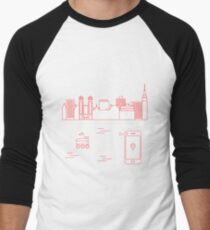 Delivery in the city with a robot. Free delivery. Men's Baseball ¾ T-Shirt