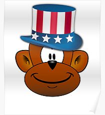 4th of July Monkey Poster