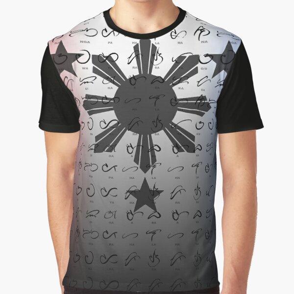 Philippine Flag Baybayin Graphic T-Shirt