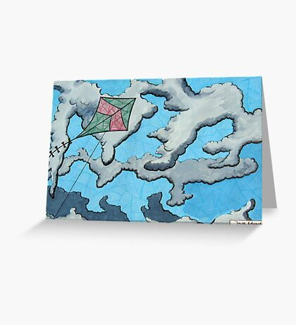 259 - KITE IN THE CLOUDS - DAVE EDWARDS - MIXED MEDIA - 2009 Greeting Card