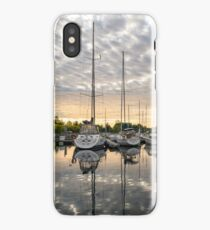 Herringbone Sky Patterns with Yachts and Boats iPhone Case