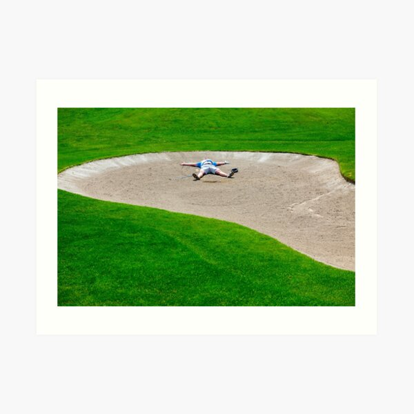 Golfer in Bunker Art Print