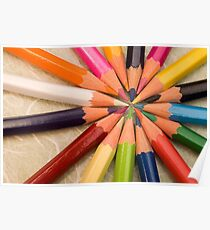 Sharpened coloured pencil crayons Poster