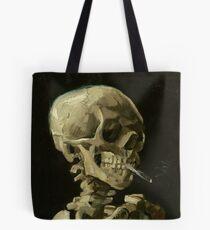 Skull of a Skeleton with Burning Cigarette - Van Gogh Tote Bag