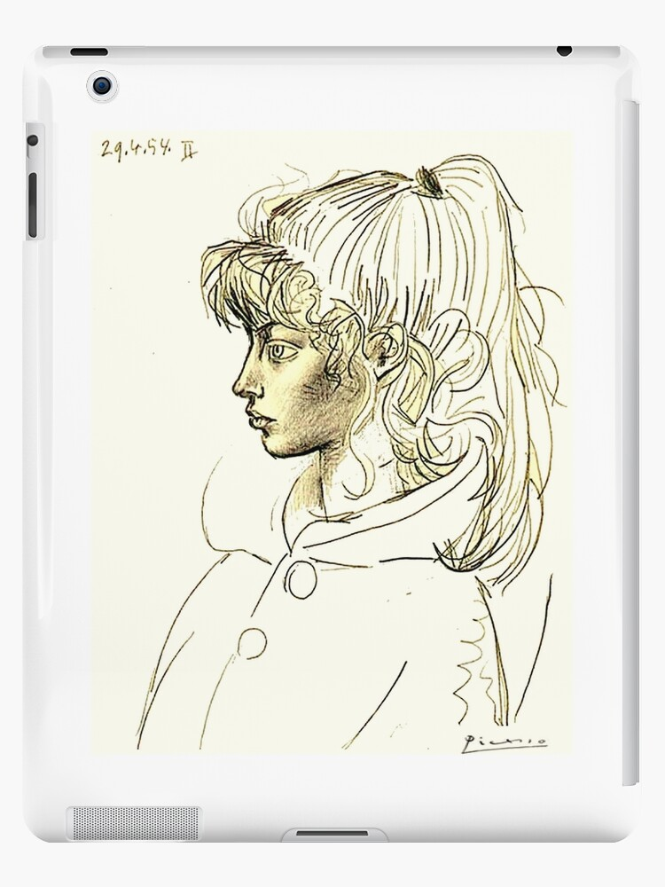 Head Of Sylvette Vintage 1954 Picasso Sketch Portrait Print Ipad Case Skin By Posterbobs