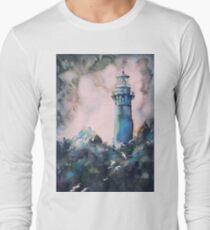 Watercolor painting of Currituck Lighthouse- North Carolina, USA.  Lighthouse art Long Sleeve T-Shirt