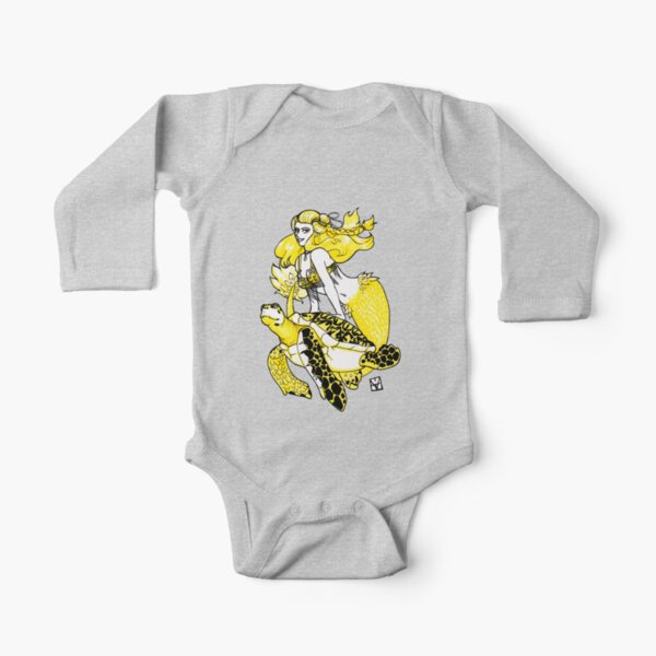 Mermaid & Turtle Long Sleeve Baby One-Piece