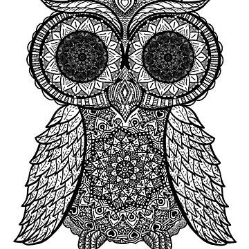 Mandala Owl Design w/ Owl Print - Mandala Bird Womens Yoga by GetHoppedWV