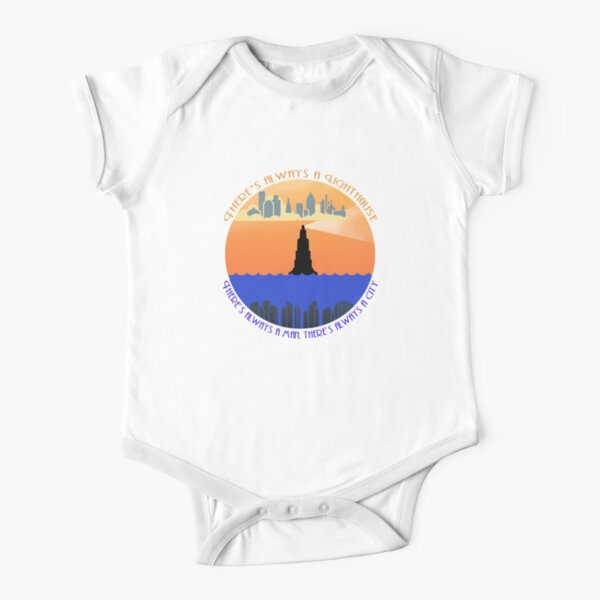 Lighthouse Baby Onepiece Light Aquamarine Blue Hand Screenprinted Infant Clothing Ocean Short Sleeved Cotton Clothing Sailing the Sea