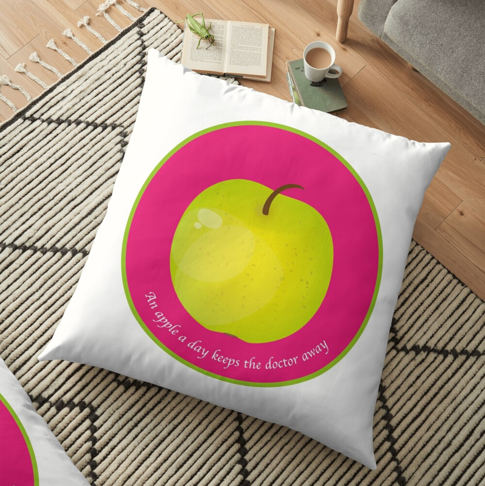 Coussin de sol «An apple a day keeps the Doctor away»