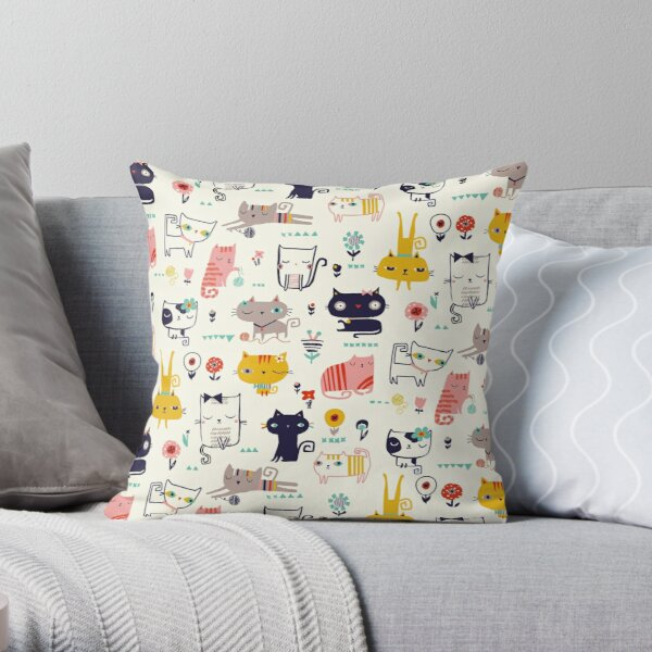 Cats, cat, cats causing a CATastrophy Throw Pillow
