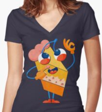 I'm Delicious - Cake Print Women's Fitted V-Neck T-Shirt