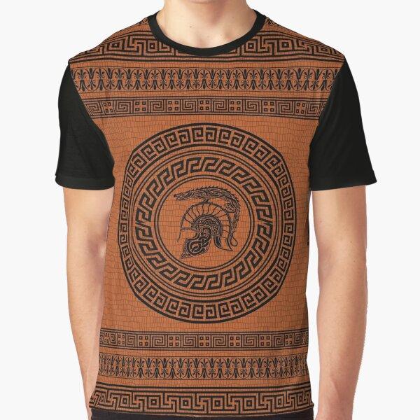 Dragon Helmet Greek Pattern Graphic T-Shirt