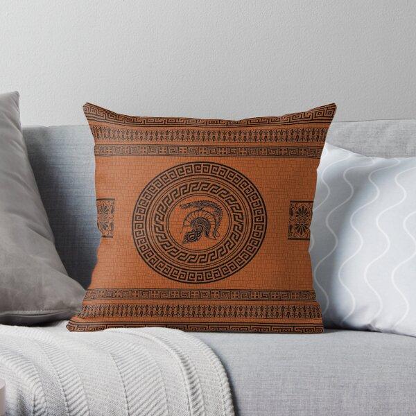 Dragon Helmet Greek Pattern Throw Pillow