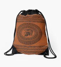 Dragon Helmet Greek Pattern Drawstring Bag