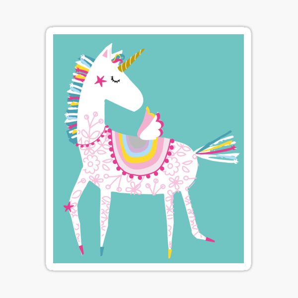 Dancing unicorn on a teal ground Sticker