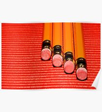 4 yellow pencils with erasers at the tip on a red  corrugated surface Poster