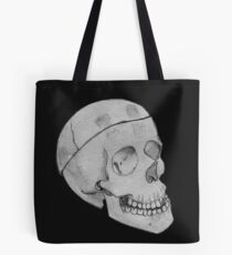 Realistic Skull Black and White Tote Bag