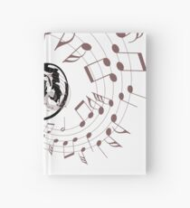 Louis Armstrong Playing Trumpet with musical notes, jazz masters Hardcover Journal