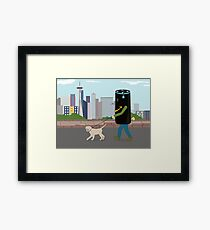 Alexa walking the lab Framed Print