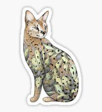 Serval Cat in Lotus Flower Tattoo Sticker